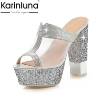 KARINLUNA Big Size 32 43 Gladiator Thick High Heels Summer Shoes Woman Cutout Air Mesh Upper
