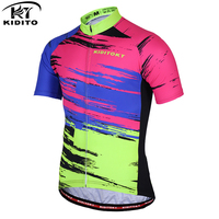 KIDITOKT Summer Short Sleeve Racing Bicycle Clothing Pro Team Mens Breathable Cycling Jersey Multicolour Cozy Bike Sportswear