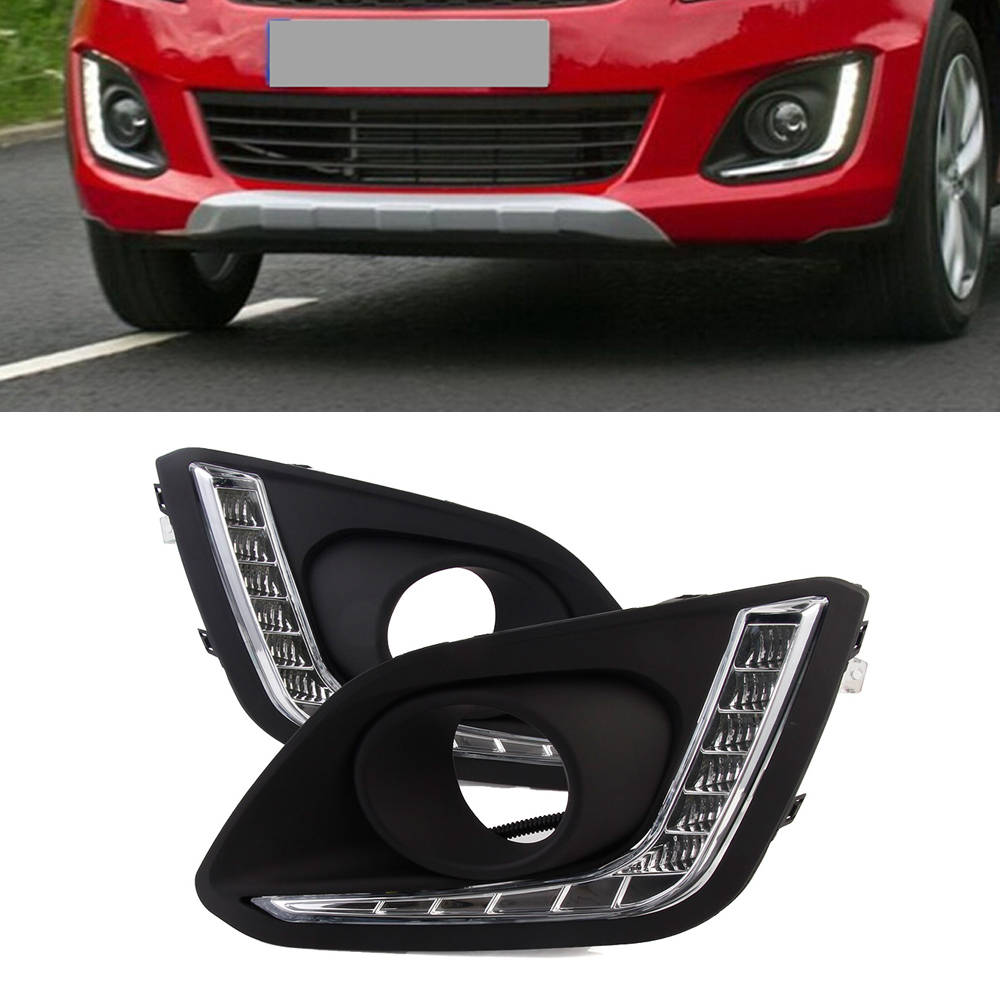 2pcs/set Auto Car LED DRL Driving Daytime Running Lights White For Suzuki Swift 2014-2016 Free Shipping auto car led light drl daytime running lights driving lamps for land rover freelander 2 12 14 2pcs set free shipping