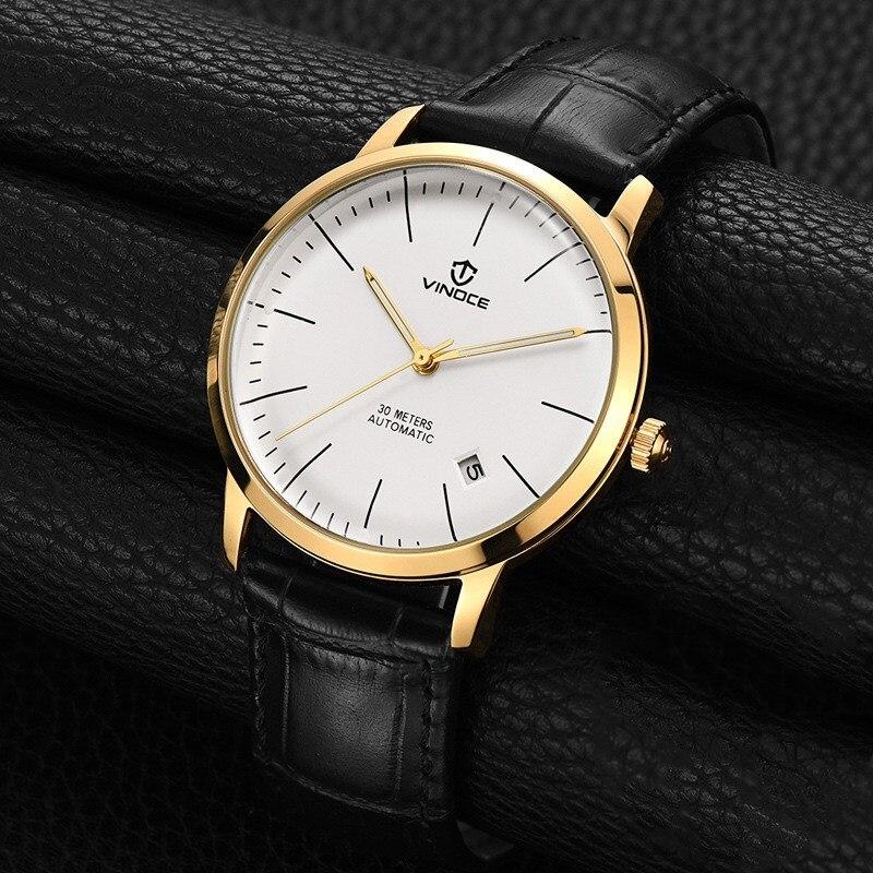 2017 NIEUWSTE Vinoce GOUD mechanisch horloge Top Merk Luxe army horloges voor mannen lederen kalender skeleton reloj hombre-in Mechanische Horloges van Horloges op  Groep 1