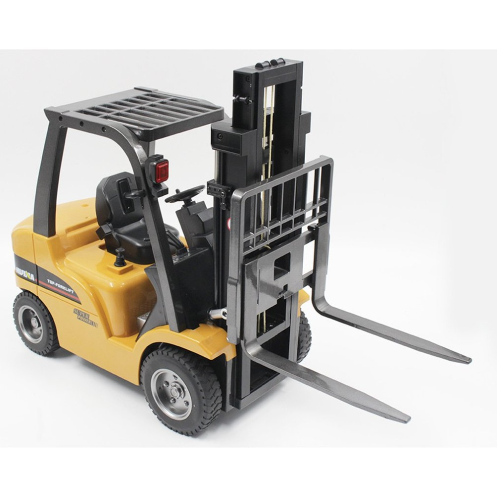 HUINA TOYS 1/10 Crane Truck Construction Car Vehicle 8CH Alloy RC Forklift Truck Toy with Sound Light Workbench Lift RTR
