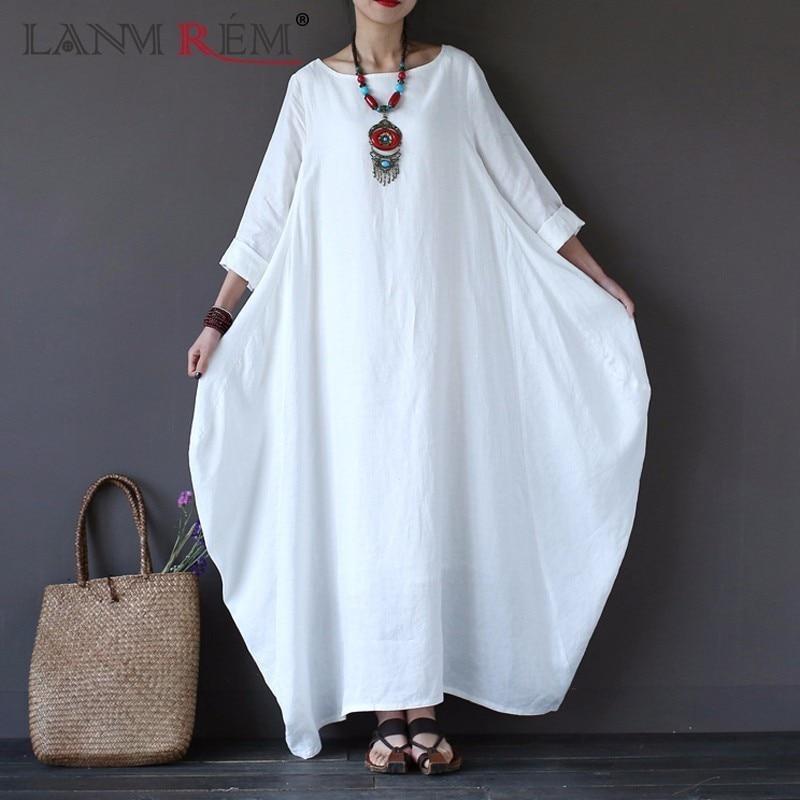 LANMREM 2018 Summer Plus Size Dresses Women 4xl 5xl Loose Cotton Linen O-neck White Boho Shirt Dress Long Sleeve Maxi Robe Dress
