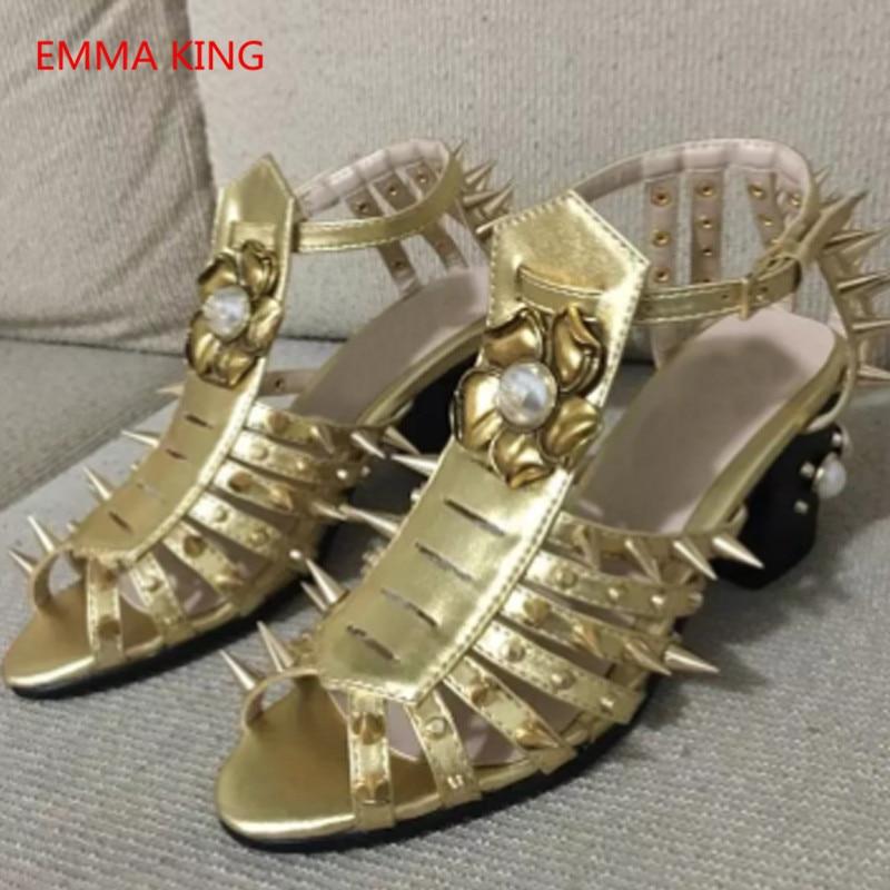À In Sandales Picture La Chaussures Bride Hauts Chunky Shown Pompes Cuir Talons Or En Spike Toe D'été Cheville Femmes Peep De As Clouté Sandalia Gladiateur xSwngq