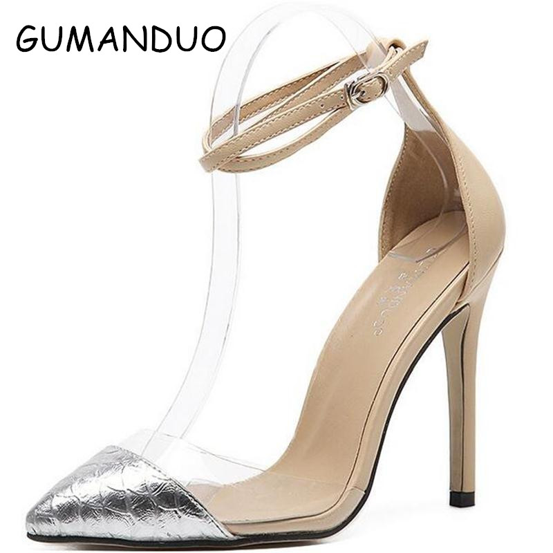 2017 spring fall Sexy transparent PVC pumps Women High heels Ankle buckle Pointed toe Rome shoes Stiletto Sandals Shoes Woman new women pumps transparent wedges high heels ankle pointed toe high heels pring autumn sexy shoes woman platform pumps