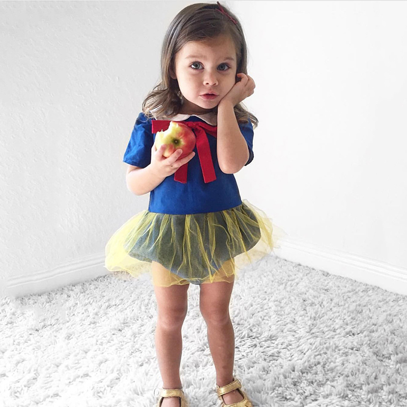 Brand Baby Rompers For Girl Snow White Princess Bebe Jumpsuit Headband Set Boutique Baby Buddle Infant