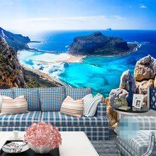 Custom any size 3D Effect wall mural wallpapers Modern fashion Mountain,Seaside, Blue Sea, Wall sticker Living Room Home Decor