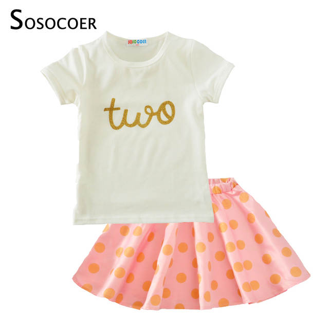3a8a9d60c771 Online Shop SOSOCOER Girl Clothing Sets Summer 2017 Two T Shirt+ ...