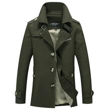 Veste Cargo militaire pour homme, Trench en coton Long, décontracté, manteau de marque classique et emblématique, Trench Coat à bretelles pour homme