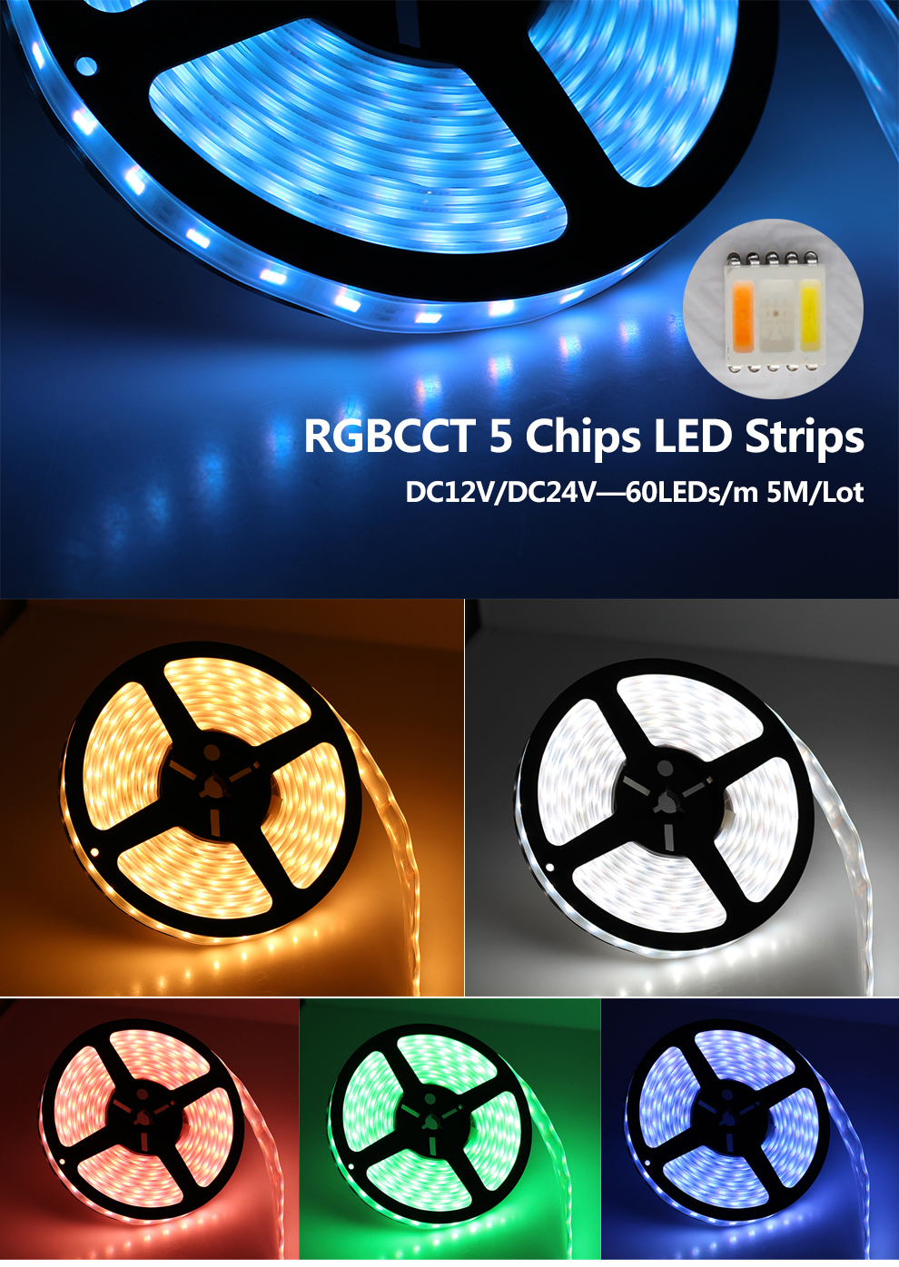 5 in 1 chips LED Strip Light 5050 (8)