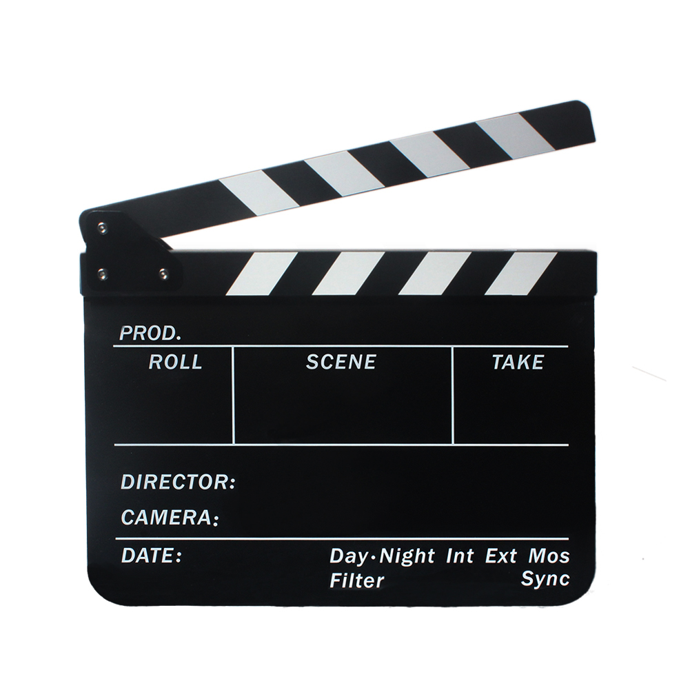 Original Dry Erase Director's Film Movie Clapboard Cut Action Scene Clapper Board Slate with Black + White Sticks Free Shipping