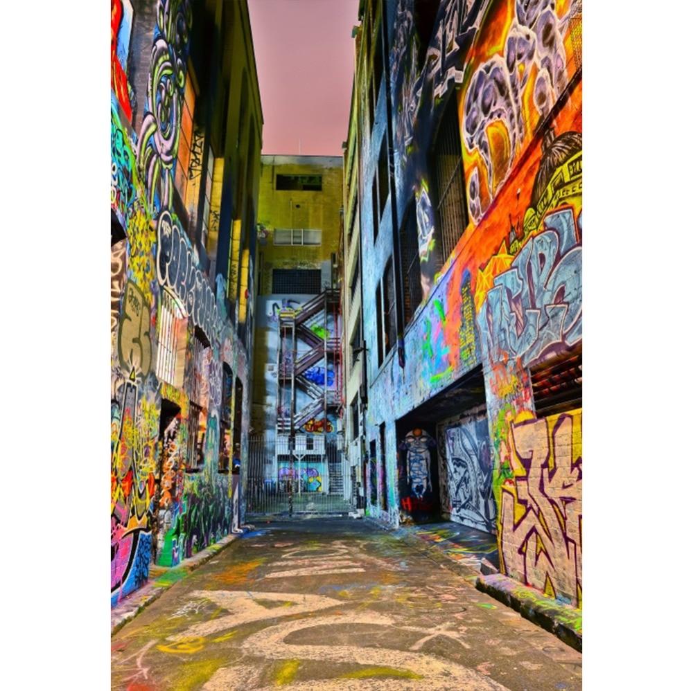 Laeacco Graffiti Grunge Street Scene Baby Portrait Photography Background Photographic Seamless Photo Studio Backdrop Wall