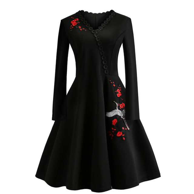 Women 50S 60S Vintage Dress Embroidery Floral Swing Rockabilly Retro Dress Party Vestidos Long Sleeves Dresses Plus Size 4XL 1