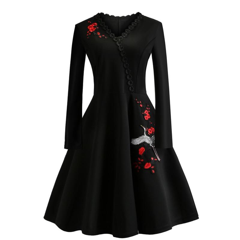 Women 50S 60S Vintage Dress Embroidery Floral Swing Rockabilly Retro Dress Party Vestidos Long Sleeves Dresses Plus Size 4XL