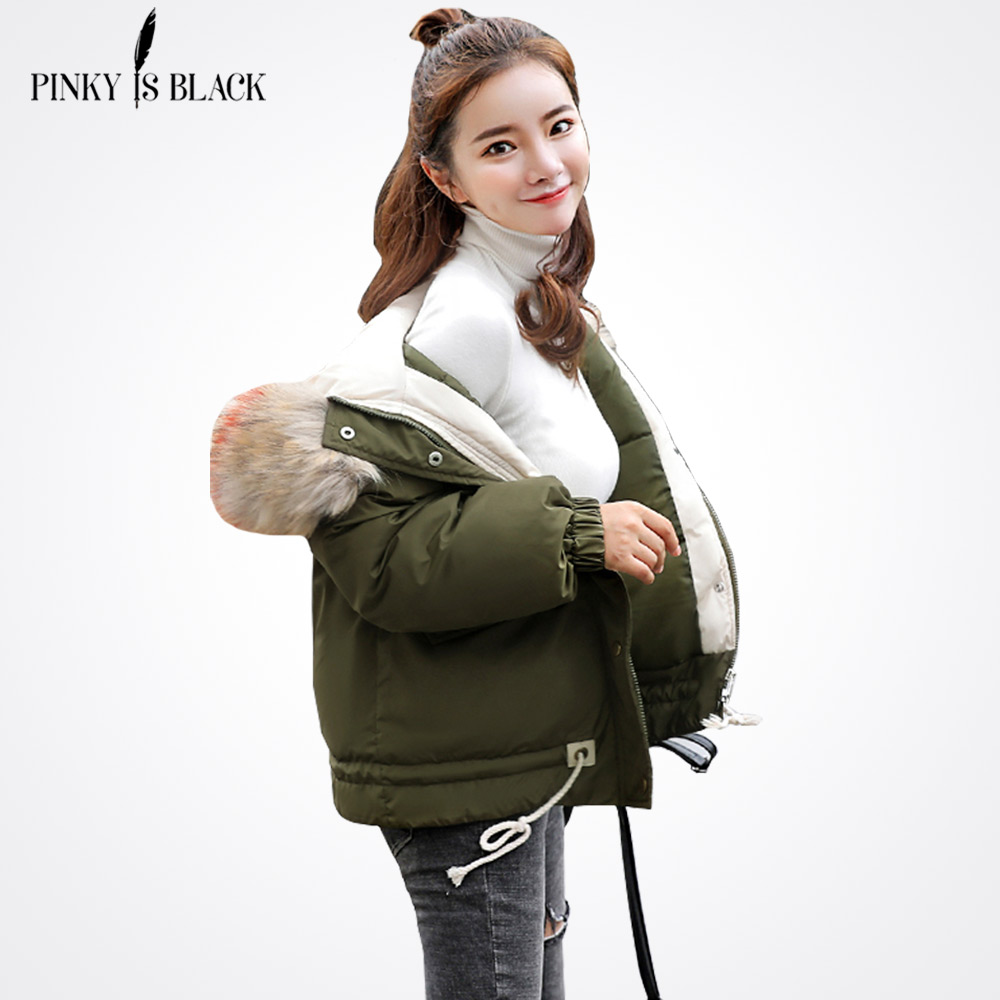 PinkyIsBlack 2019 Thick Warm Fur Hooded Short   Parka   Women Winter Coat Down Cotton Padded Jacket Winter Jacket Women Coat Female