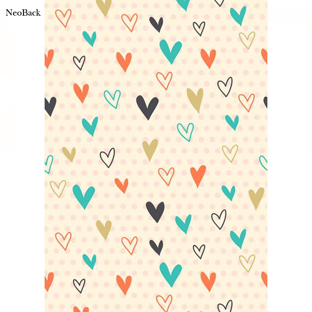 NeoBack Thin Vinyl 5x7ft vinyl mixed heart patterns backgrounds for photo studio printed new born baby children Backdrops P1268