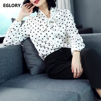Women Shirt Long Sleeve Blouse 2018 Spring Bow Tie Polka Dot Print Women Silk Shirts Feminine