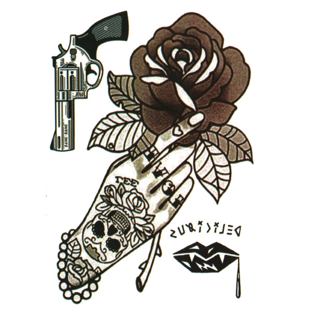 Yeeech Temporary Tattoos Sticker for Women Arm Leg Sexy Bead Skull Hand Rose Gun Lip Letter Designs Fake Long Lasting Body Art