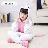 Pijama Infantil Onesie Hooded Kids Animal Cartoon Pajama Pink Unicorn Children Boy Girl Unisex Pyjama
