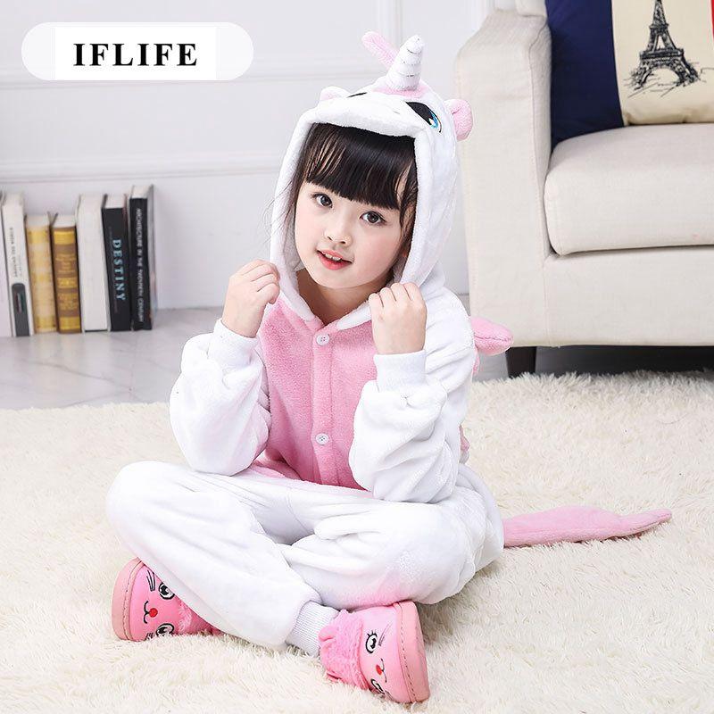 Pijama Infantil Onesie Hooded Kids Animal Cartoon Pajama Pink Unicorn Children Boy Girl Unisex Pyjama