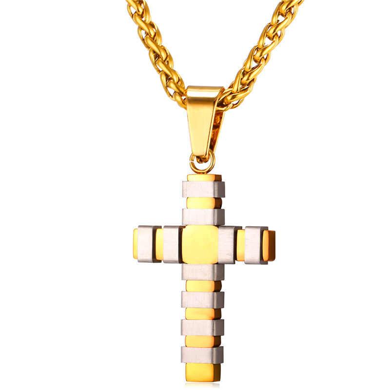 Steampunk krzyż naszyjniki i wisiorki ze stali nierdzewnej złoty/czarny pistolet kolor hurtownia naszyjnik kobiety mężczyźni Christian biżuteria P011