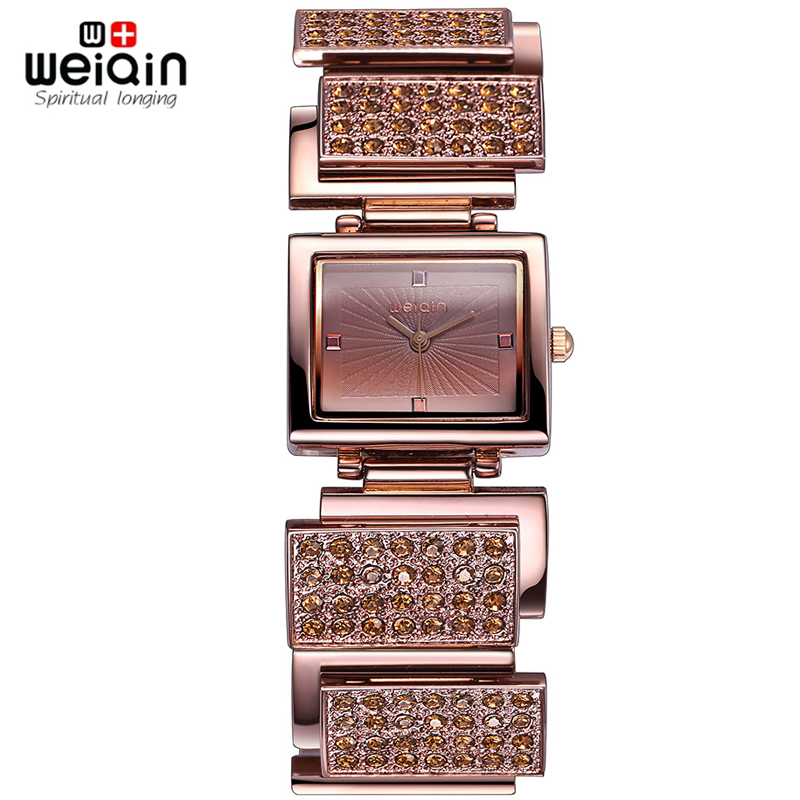 WEIQIN Crystal Rhinestone Bangle Watches Women Analog Quartz-watch Fashion Dress Ladies Watch Bracelet Female Relogios Feminino black dc 24v power on delay timer time relay 0 1 9 9 second 8 pins asy 2d