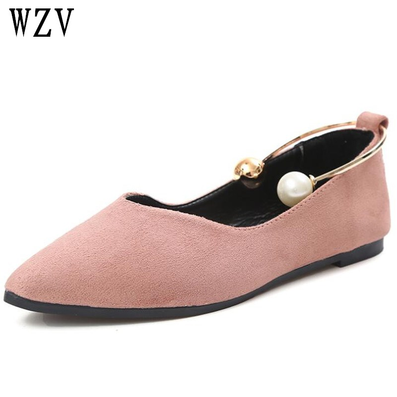 2018 New Women Suede Flats shoes Fashion Basic Pointy Toe Ballerina Ballet Flat Slip On women Shoes B99 ballerina wedding shoes women sweet candy ballet pointy pu leather shoes girls summer spring flat shoes butterfly bowknot