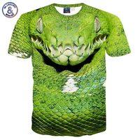 Mikeal Animals Printed Men S T Shirt 3d Print A Big Green Python Short Sleeve