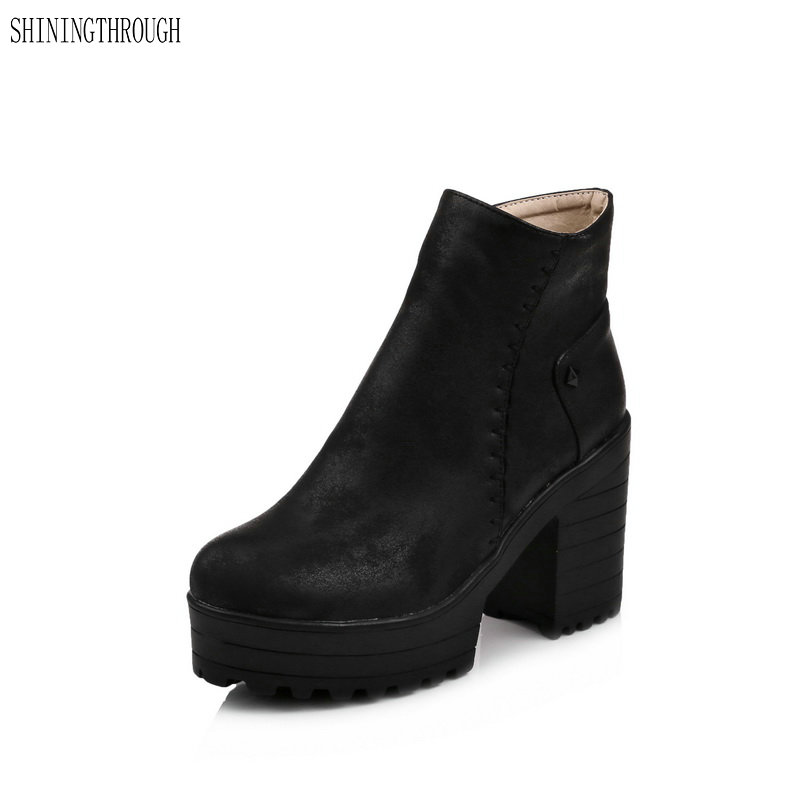 Largr size 34-43 New sexy ankle boots winter women boots motorcycle shoes thick high heels boots platform shoes womanLargr size 34-43 New sexy ankle boots winter women boots motorcycle shoes thick high heels boots platform shoes woman