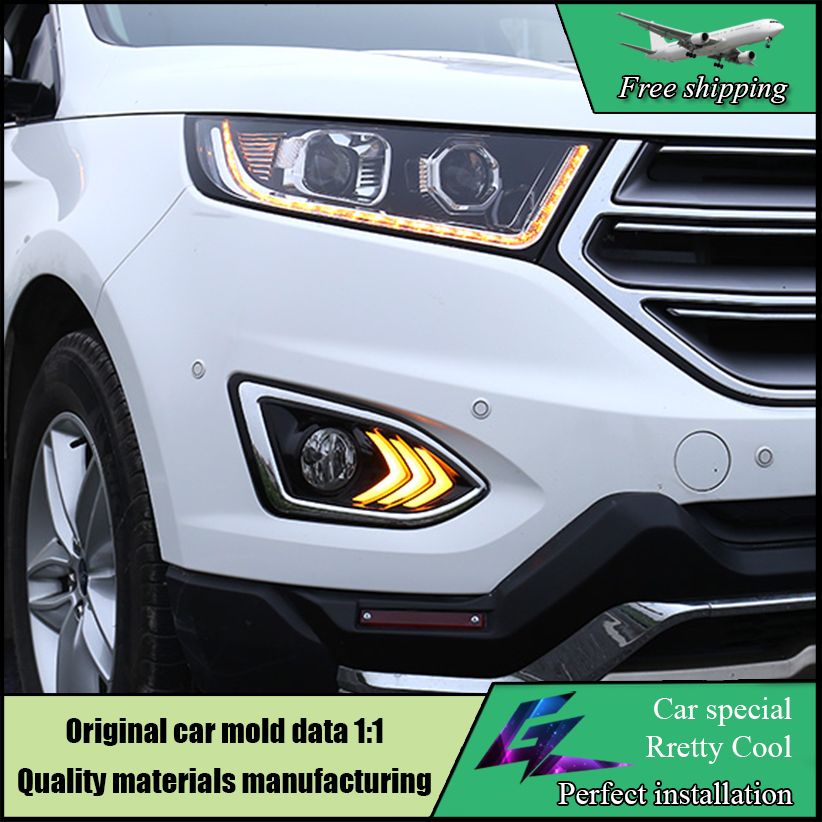 Car Styling LED DRL Kit Daytime running light For Ford Edge 2015 2016 With Turn yellow signal with fog lamp hole Daylight