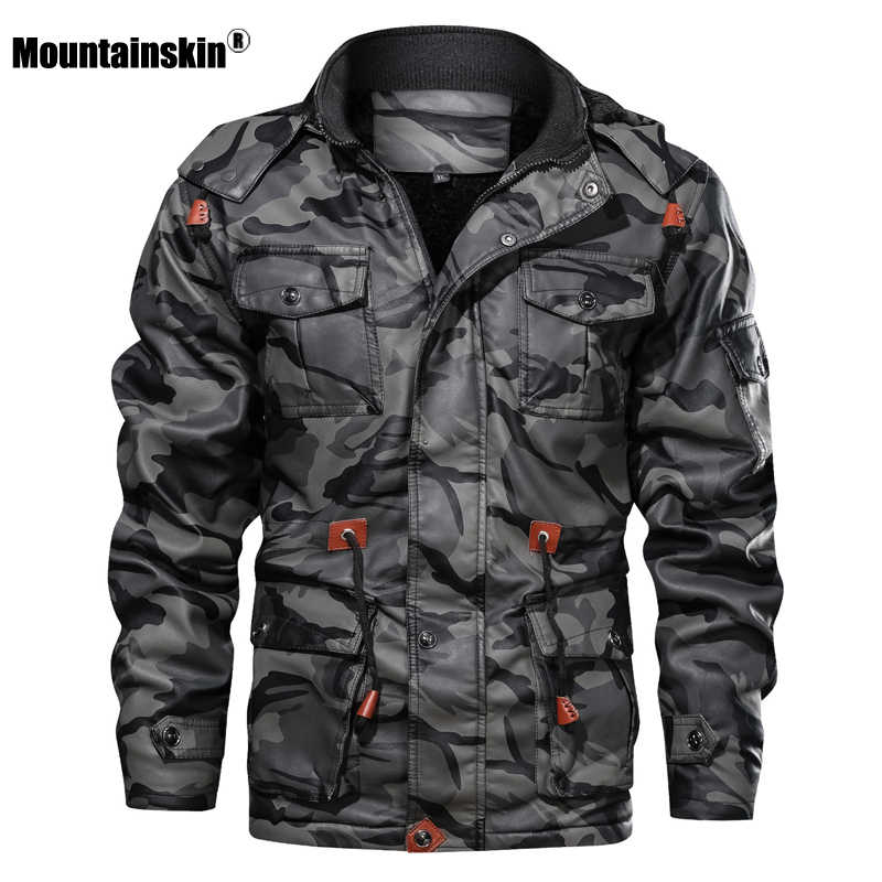 Mountainskin mannen Leren Jassen Winter Fleece Dikke Heren Hooded PU Jassen Man Fashion Motorfiets Uitloper Merk Kleding SA724