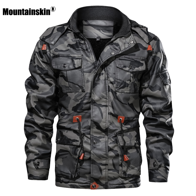 Mountainskin Men's Leather Jackets Winter Fleece Thick Mens Hooded PU Coats Male Fashion Motorcycle Outwear Brand Clothing SA724