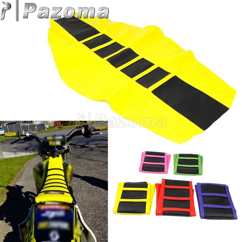 Motocross MX <font><b>Enduro</b></font> Off Road Striped Ribbed Gripper Soft Seat Cover For Honda Suzuki Kawasaki KTM SX Suzuki Drz400 RMZ <font><b>250</b></font> 65 image
