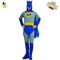 Adultos Deluxe Muscular Batman Cavaleiro Das Trevas Traje Com Capuz & Macacão & Capa de Super-heróis Dos Homens Imitação Festa de Halloween do Vestido Extravagante conjunto