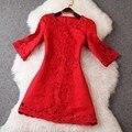 Bordado del vestido de primavera 2016 nuevos alta calidad Women ' s ropa más tamaño XXL casual invierno vestidos mini vestido de partido rojo