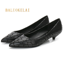 Women Black Fashion Shoes Snake PU Leather Female Shoes 3CM Low Heel Pumps Brand New Work Shoes Size 34-40,K-055