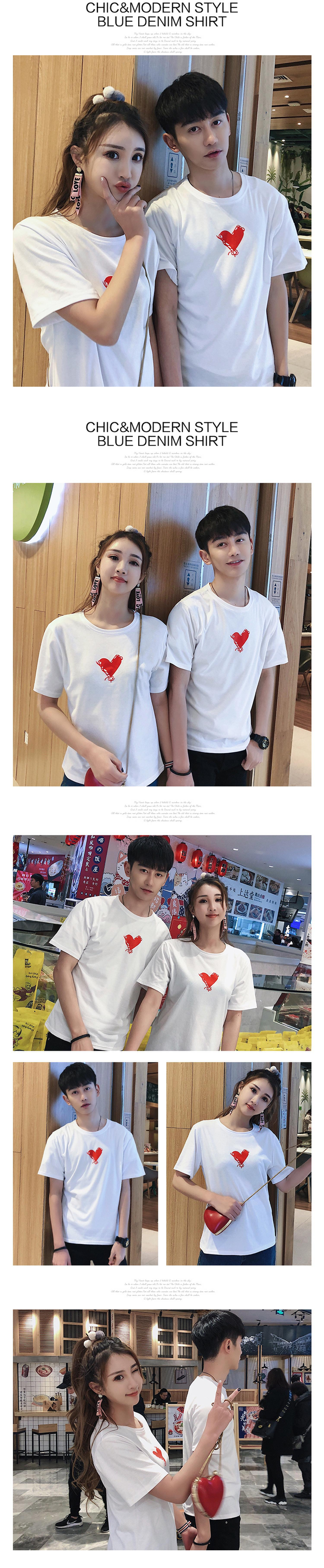 f46f340272 Matching Couple T-Shirts Lovers Preppy Style Girls Boy Cute Sweet O Neck Top  Tees White print love Couple T Shirt Cotton 272 ...