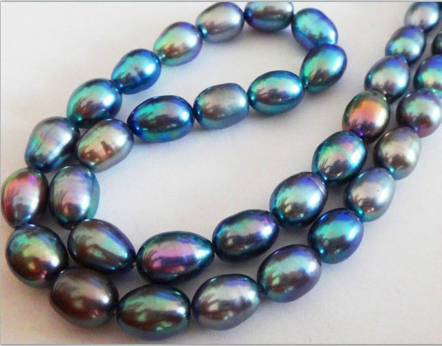 """HOT## Wholesale   NATURAL 18""""12X9MM TAHITIAN GENUINE PEACOCK BLUE GREEN PEARL NECKLACE  AAA+"""