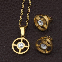 Stainless Steel Jewelry Gold Color Round  Pendant+Earrings Sets For women Supernova Sales SBJFBVBA