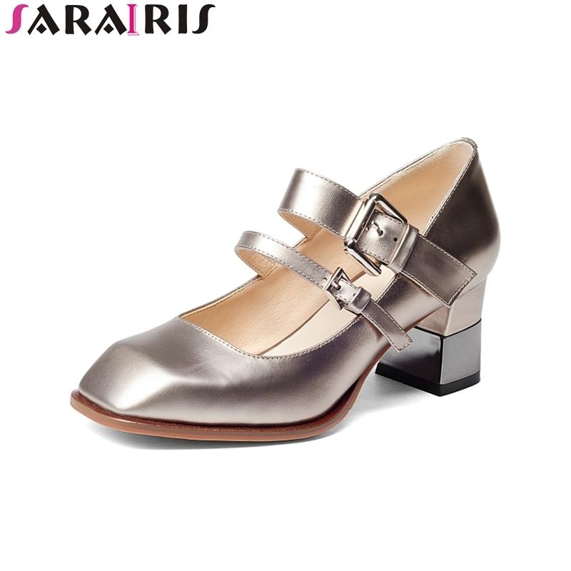 SARAIRIS 2018 Frühling Herbst Fashion Echtes Leder Mary Janes Pumpen - Damenschuhe