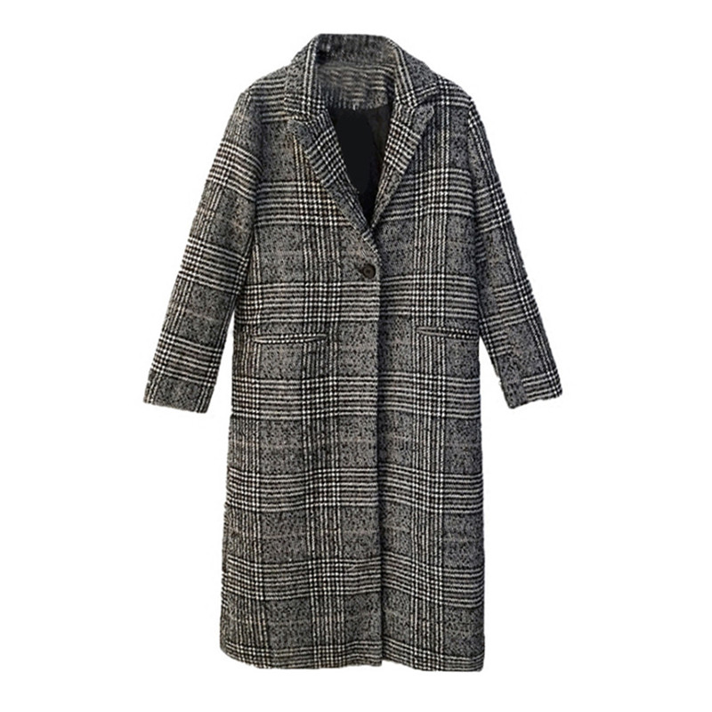 2019 Spring Autumn Women's Wool Coat Fashion Long Woolen Coat One Button Slim Female Suit Jackets Outwear casaco feminino V874