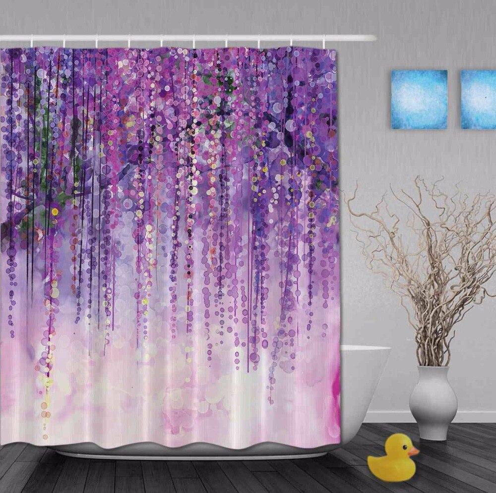 Художественный акварельный рисунок цветочный водопад блестящие весенние занавески для душа Ployester водонепроницаемая ткань ванная душевая