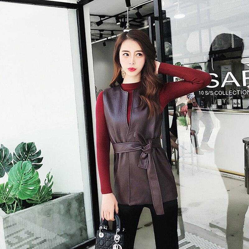 Весенняя Корейская женская жилетка из искусственной кожи, Женская мотоциклетная куртка черного и красного цвета без рукавов, приталенная ж