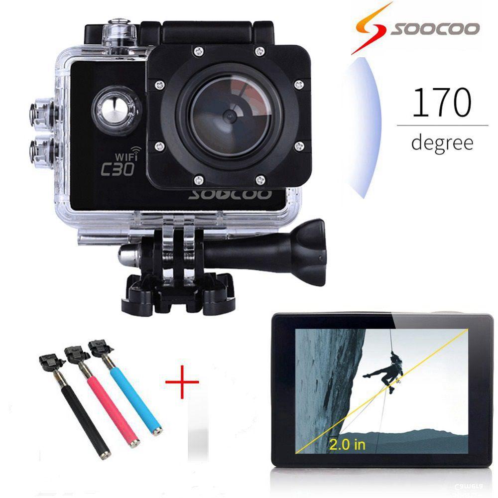 SOOCOO C30 4K Gyro Ultra HD Wifi Action Camera 70-170 Degrees 2.0 LCD Deportiva Mini Camcorders Helmet Cam+Selfie Stick soocoo c30 sports action camera wifi 4k gyro 2 0 lcd ntk96660 30m waterproof adjustable viewing angles