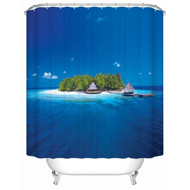 Gentil 2016 US New Ocean Island Waterproof Shower Curtain Bathroom Shower Curtain  Accessories Curtain Environmentally Friendly FJ
