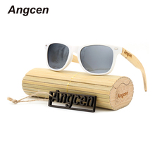 Angcen 2017 NEW Ms packages mailed 2016 bamboo, wood fashion retro polarizing sunglasses by hand PC-White