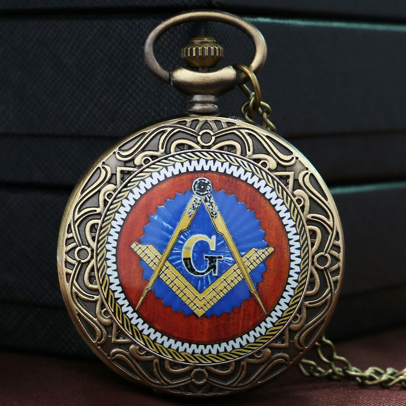 Fashion Mystical Masonic Freemason Freemasonry Theme Bronze Pocket Watch With Chain Necklace