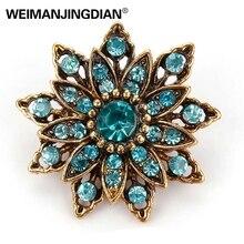 Brazaletes para damas marca weimanjingdian Vintage Color dorado plateado cristal Rhinestones flor broche antiguo pines para mujeres en surtido