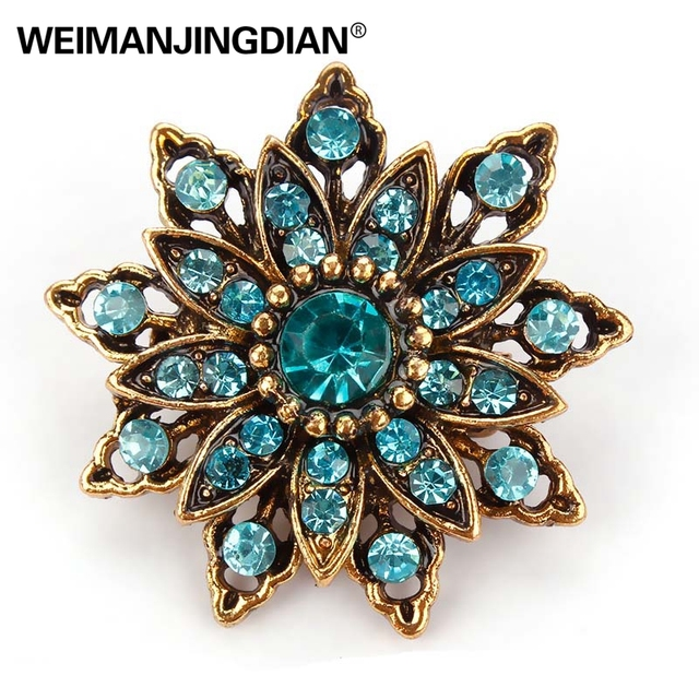 Crystal Rhinestones Flower Antique Brooch