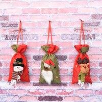 Posiadacze Dekoracje na boże narodzenie Santa Claus Prezent Prezent Prezent Torba Worek Cukierków Cute Santa Cukierki Dla Dzieci Prezent Torby Torebka Woreczek Worek