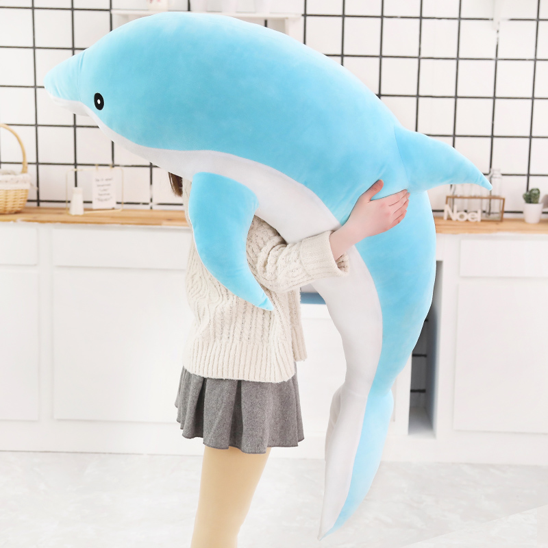 Kawaii Soft Dolphin Plush Toys Dolls Stuffed Down Cotton Animal Nap Pillow Creative Kids Toy Christmas Gift For Girls Children